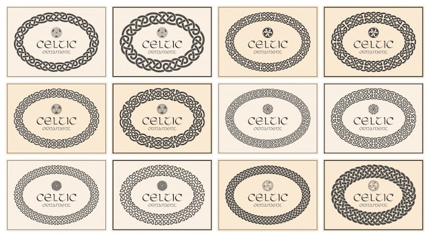 Кельтский узел в плетеной овальной рамке с бордюром орнамента. размер а4.