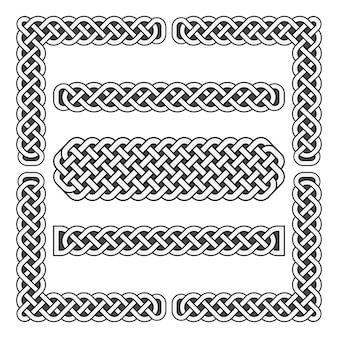 Кельтские узлы векторные средневековые границы и угловые элементы