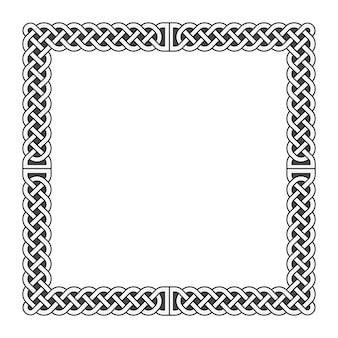 Кельтские узлы векторная средневековая рамка в черно-белом