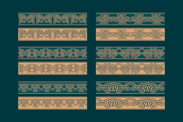 Celtic knotwork seamless border ornament set