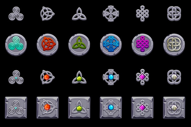 Celtic symbols. stone coins and square with celtic symbol. cartoon set celtic icons.