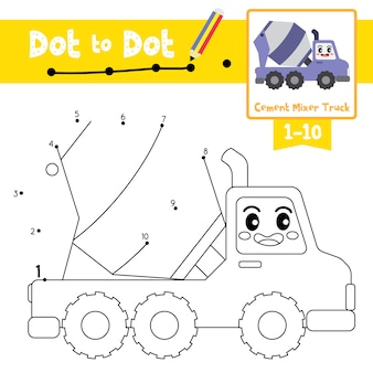 Cement mixer truck dot to dot game and coloring book