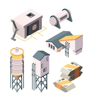 Cement production. heavy industry concrete transport mixer and tanks  isometric collection