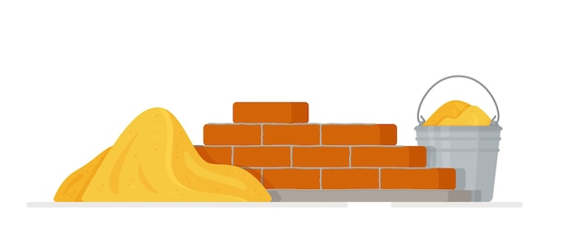 Cement trowel and brick wall on white
