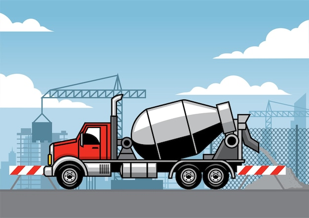 Cement truck on the construction site