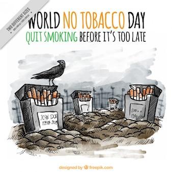 Ручной обращается против табака cementery фон