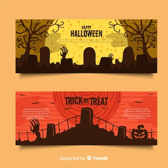 Cemeteries on a full moon night flat halloween banners