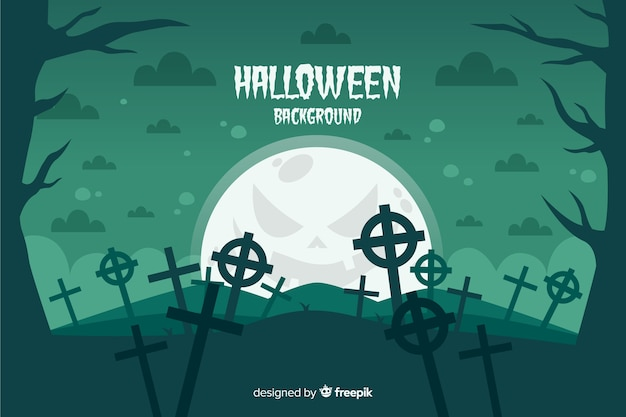 Cemetery crosses on a full moon night halloween background