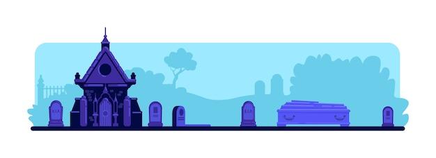 묘지 평면 색상. 묘비와 오래된 지하실 건물. 장례식을위한 관. 배경에 묘비와 나무와 짜증 묘지 2d 만화 풍경