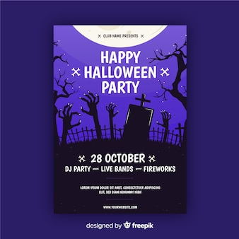 Cemetery under full moon halloween party flyer
