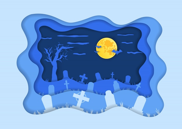 Cemetery or graveyard background in paper cut art style in vector