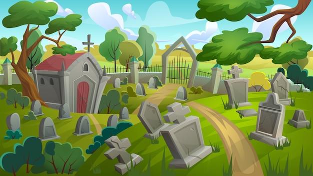 Cemetery graveyard landscape illustration