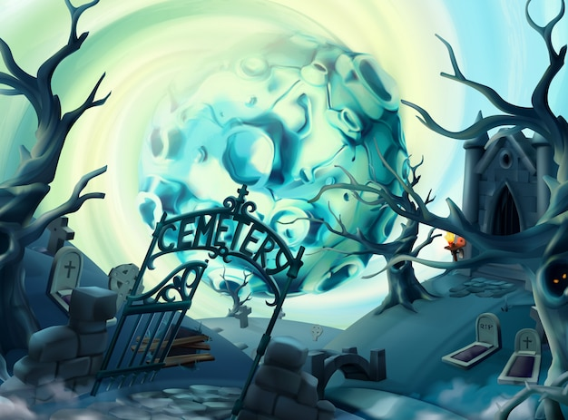 Cemetery, halloween illustration. cartoon landscape, vector graphics