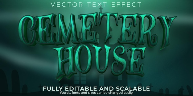 Cemetery house text effect, editable halloween and horror text style
