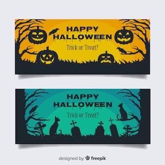 Cemetery pumpkins flat halloween banners