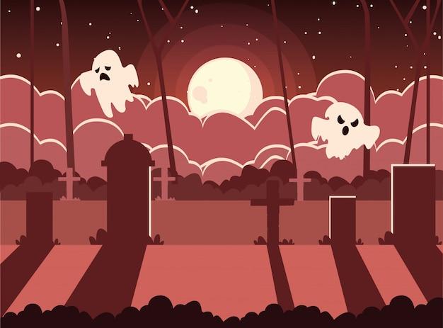 Cemetery in scene halloween