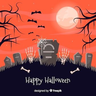 Cemetery tombstones halloween background