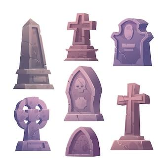 Набор надгробий на кладбище