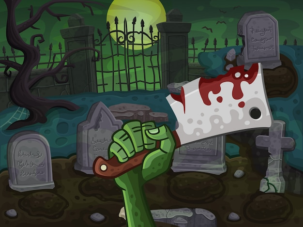 Cemetery and zombie hand with butcher knife