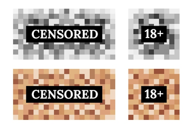 Censored sign set from pixel blur for protection face and body. square color in mosaic design