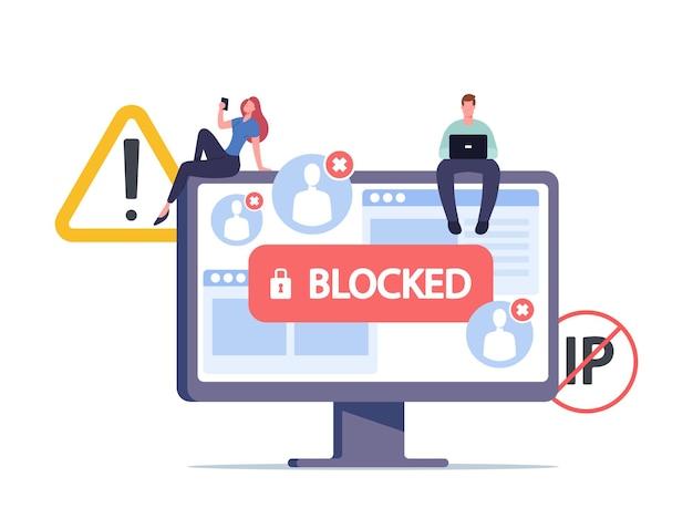Блокировка цензуры или защита активности программ-вымогателей. крошечные мужские и женские персонажи, сидящие на огромном мониторе компьютера с заблокированной учетной записью на экране, кибератака. мультфильм люди векторные иллюстрации