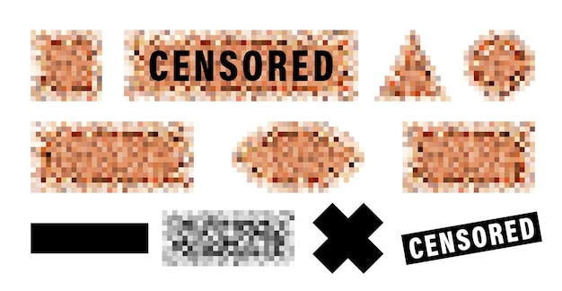 Censorship elements set, censored bar and pixel censor mosaics signs set, censure pixelation effect and blur