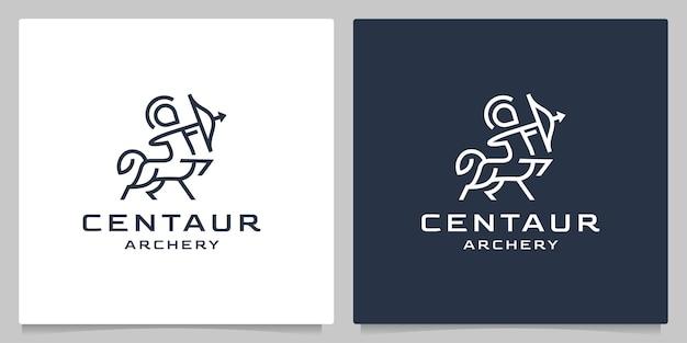 Centaur archery ancient line outline abstract logo design minimalist Premium Vector
