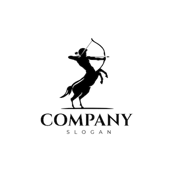Centaur  soldier holding his bow and arrow logo design