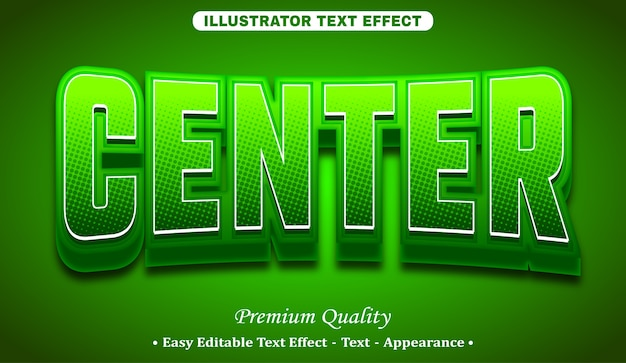 Center 3d editable text style effect