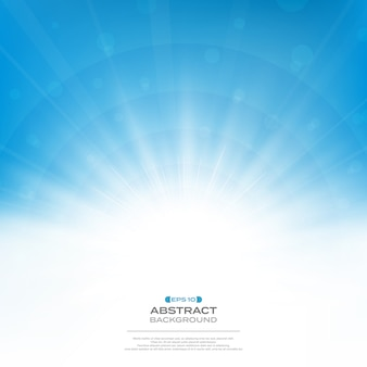 Center of sun burst effect on clean blue sky background