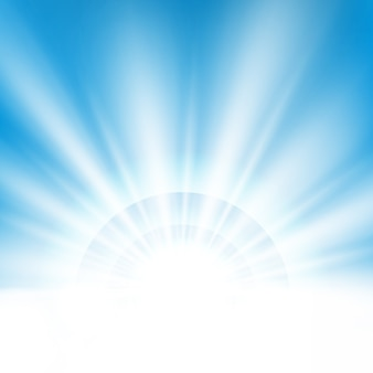 Center sunburst light effect on clean blue sky background with text space