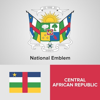 Central african republic map, flag and national emblem