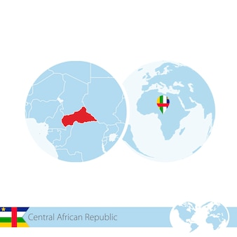 Central african republic on world globe with flag and regional map of car. vector illustration.