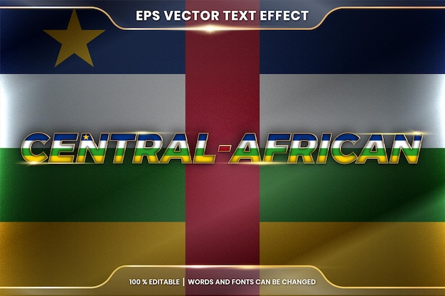 Central african with its national country waving flag, editable text effect style with gradient gold color concept