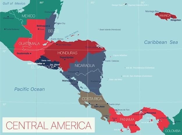 Центральная америка - детальная редактируемая карта со странами и столицами.
