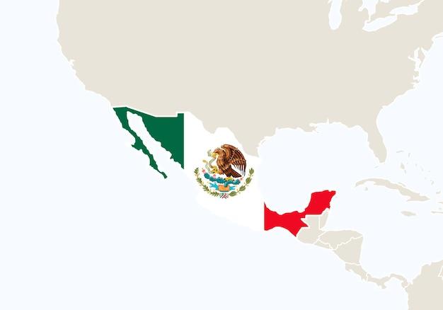 Центральная америка с выделенной картой мексики. векторные иллюстрации.