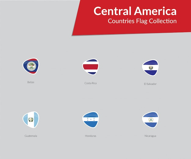 Central american flags icon collection