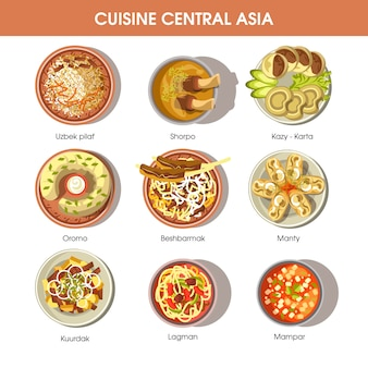 Central asia food cuisine vector icons for restaurant menu