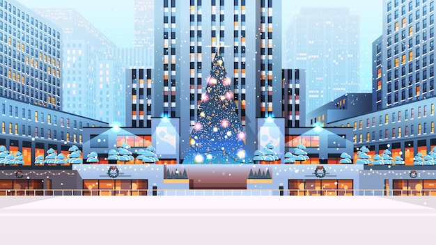 Central city square with decorated christmas tree happy new year winter holidays celebration concept cityscape background horizontal  illustration