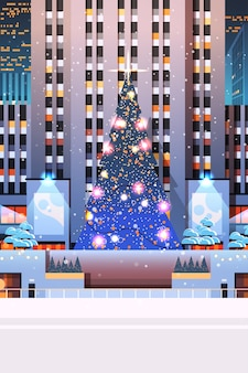Central city square with decorated christmas tree happy new year winter holidays celebration concept night cityscape background vertical  illustration