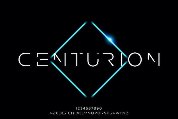 センチュリオン、技術をテーマにした抽象的な未来的なアルファベットフォント。モダンなミニマリストのタイポグラフィデザイン