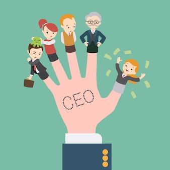 Ceoの碑文と会社員の手が指に人形をつける
