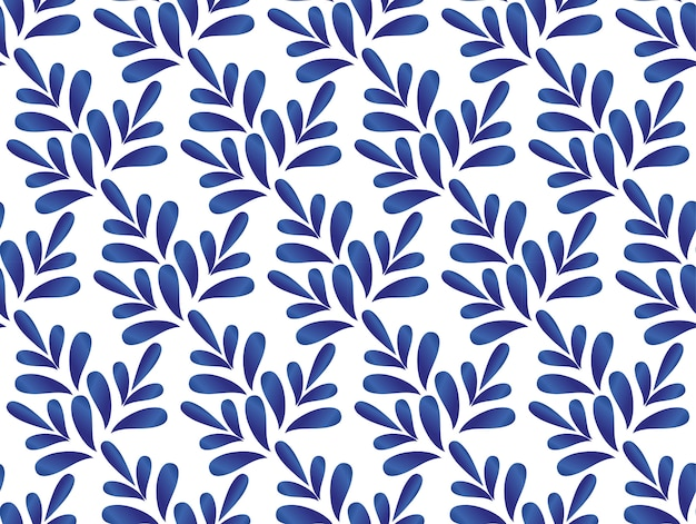 Cerami blue and white leaves pattern