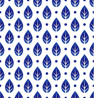 Ceramic blue and white leaf pattern