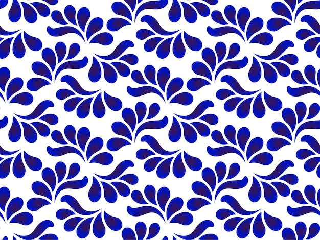 Ceramic blue and white leaves pattern