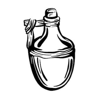 オリーブオイル入りセラミックボトル。ヴィンテージスタイルの手描きのベクトルイラストエクストラバージンオリーブオイル。ヴィンテージスタイル