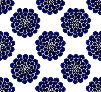 Ceramic chrysanthemum flower blue and white seamless pattern