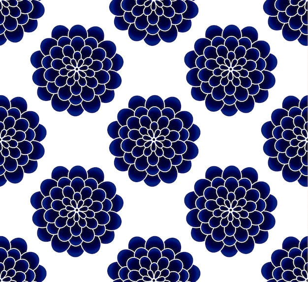Ceramic chrysanthemum flower blue and white seamless pattern