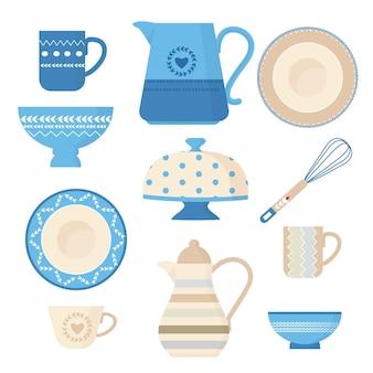 세라믹 조리기구. 주방 용품 유행 장식 도구 도금 그릇 수제 요리 찻 주전자 컵과 머그잔 삽화.