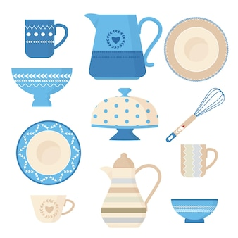 Ceramic cookware. kitchen utensils trendy decorative tools plating bowl handmade dishes teapots cups and mugs  illustrations. Premium Vector